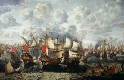 </b> <i>Eerste fase van de Zeeslag in de Sont - First phase of the Battle of the Sound - Nov. 8 - 1658.  Jan Abrahamsz Beerstraten, 1660.</i><b>